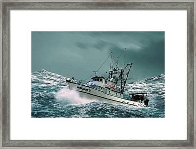 Heading For Shelter Framed Print by John Helgeson