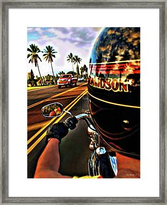 Heading Out On Harley Framed Print by Joan  Minchak