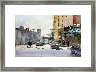 Heading West On College Avenue - Appleton Framed Print by Ryan Radke