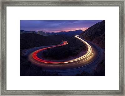 Headlights And Brake Lights Framed Print by Karl Klingebiel