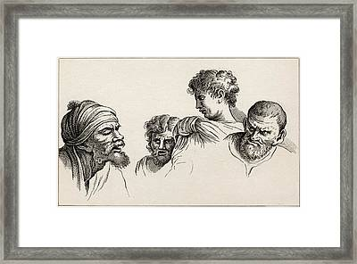 Heads From The Cartoons At Hampton Framed Print by Vintage Design Pics