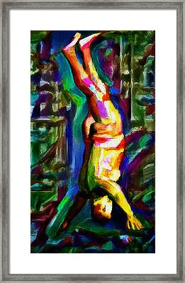 Headstand Naked Unconventional Figure Portrait Painting Bright Colorful Gymnastics Old Man Nude Male Men Athletic Stomach Fat Feet Head Hands Rainbow Framed Print by MendyZ