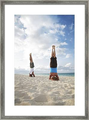 Headstand On Beach Framed Print by Brandon Tabiolo - Printscapes