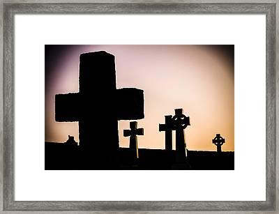 Headstones At Night, Peak District, England, Uk Framed Print