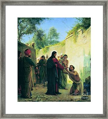 Healing Of The Blind Man Framed Print by MotionAge Designs