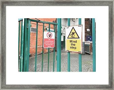 Health And Safety Signs Framed Print by Tom Gowanlock