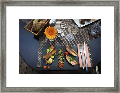 Framed Print featuring the photograph Health Fish Dish Served At A French Restaurant by Semmick Photo