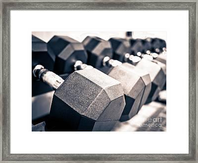 Healthclub Free Weights Dumbbell Rack Framed Print by Paul Velgos