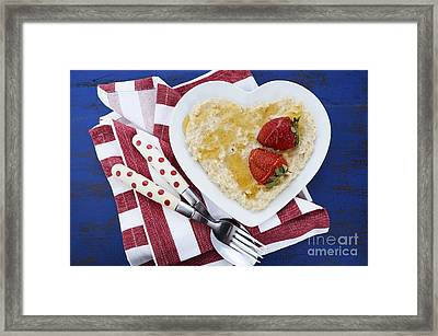 Healthy Breakfast Oats On Heart Shape Plate Framed Print by Milleflore Images