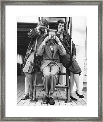 Hear, See, Speak No Evil Framed Print by Underwood Archives