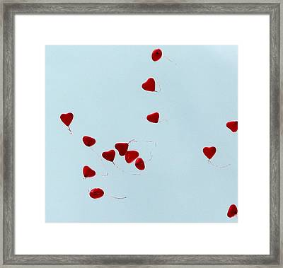 Heart Balloons In The Sky Framed Print