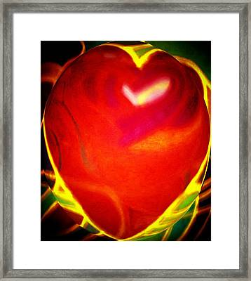 Heart Beating With Love Framed Print by Brenda Adams