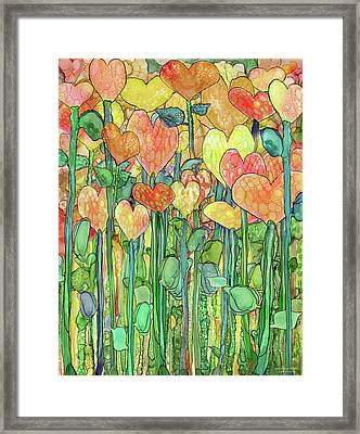 Framed Print featuring the mixed media Heart Bloomies 1 - Golden by Carol Cavalaris