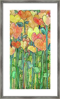 Framed Print featuring the mixed media Heart Bloomies 2 - Golden by Carol Cavalaris