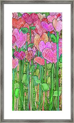 Framed Print featuring the mixed media Heart Bloomies 2 - Pink And Red by Carol Cavalaris