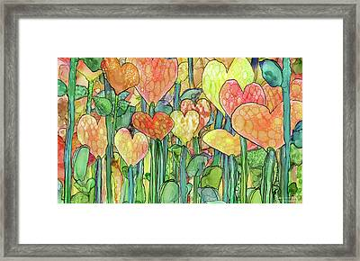 Heart Bloomies 3 - Golden Framed Print by Carol Cavalaris