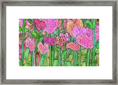 Framed Print featuring the mixed media Heart Bloomies 3 - Pink And Red by Carol Cavalaris