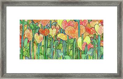 Framed Print featuring the mixed media Heart Bloomies 4 - Golden by Carol Cavalaris