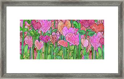 Framed Print featuring the mixed media Heart Bloomies 4 - Pink And Red by Carol Cavalaris