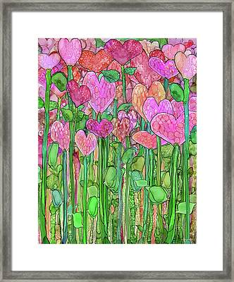 Framed Print featuring the mixed media Heart Bloomies 1 - Pink And Red by Carol Cavalaris