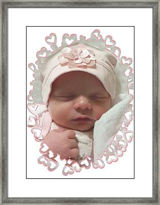 Heart Border On Newborn Girl Framed Print