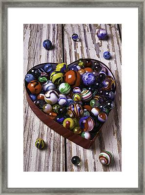 Heart Box With Marbles Framed Print by Garry Gay