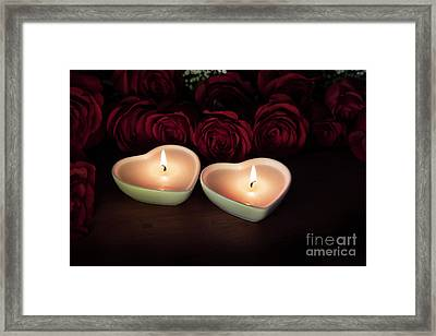 Heart Candles And Roses Framed Print by Charlotte Lake