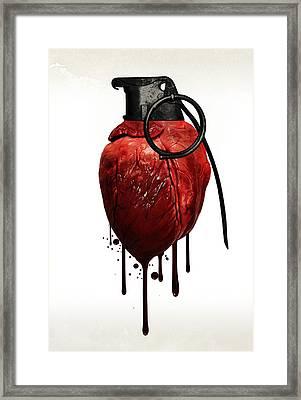 Heart Grenade Framed Print by Nicklas Gustafsson