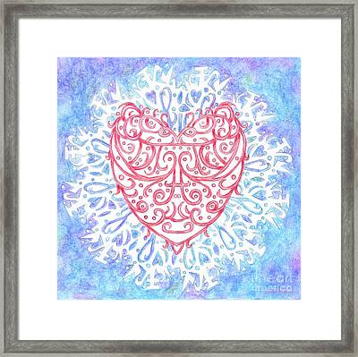 Heart In A Snowflake II Framed Print by Lise Winne