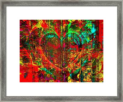 Framed Print featuring the mixed media Heart In Flame by Fania Simon