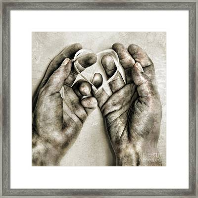 Heart In Hands Framed Print by HD Connelly