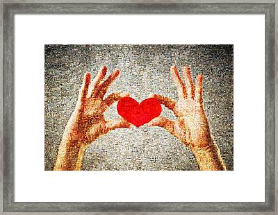 Heart In Hands Framed Print by James Jones