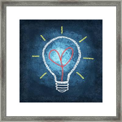 Heart In Light Bulb Framed Print by Setsiri Silapasuwanchai