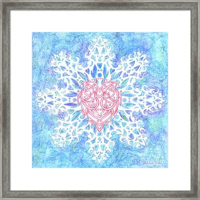 Heart In Snowflake Framed Print
