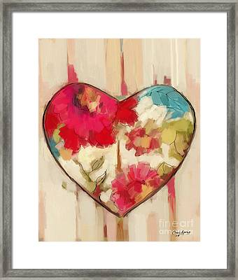 Heart In Stitches Framed Print