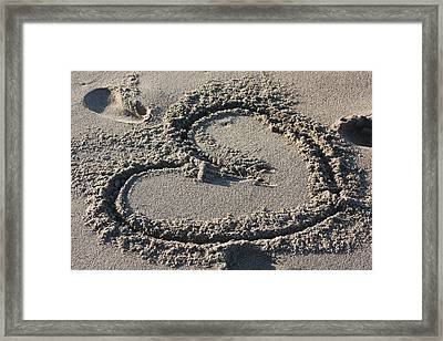 Heart In The Sand Framed Print by Gravityx9 Designs