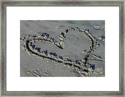 Heart In The Sand Framed Print by Jennifer White