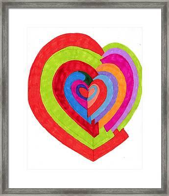 Heart Maze Framed Print by Brenda Adams