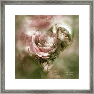 Heart Of A Rose - Antique Pink Framed Print