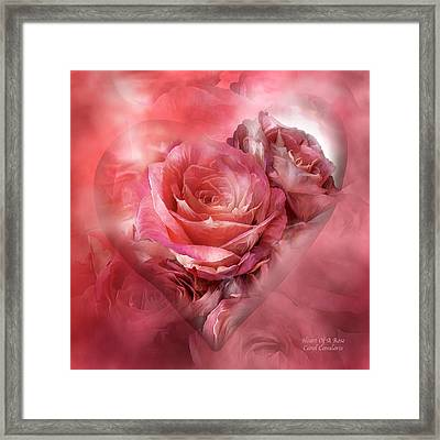 Heart Of A Rose - Melon Peach Framed Print