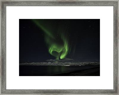 Framed Print featuring the photograph Heart Of Northern Lights by Frodi Brinks
