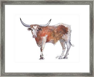 Heart Of Texas Longhorn Framed Print