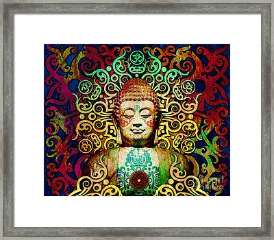 Heart Of Transcendence - Colorful Tribal Buddha Framed Print by Christopher Beikmann