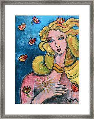Framed Print featuring the painting Heart Of Venus by Laurie Maves ART