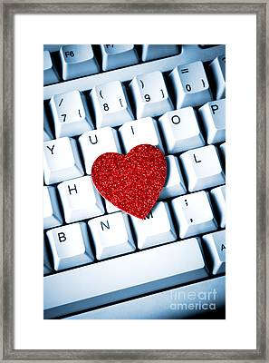 Heart On Keyboard Framed Print