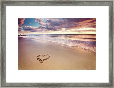 Heart On The Beach Framed Print by Elusive Photography