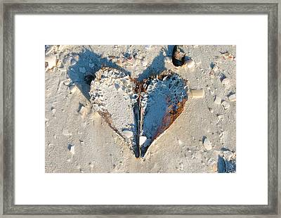 Heart On The Beach Framed Print