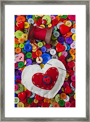 Heart Pushpin Chusion  Framed Print by Garry Gay