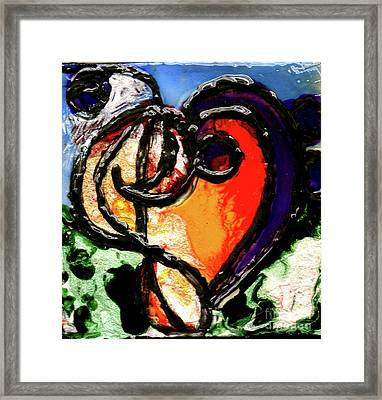 Framed Print featuring the painting Heart Robin Treble by Genevieve Esson