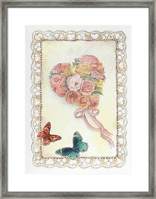 Heart Shape Bouquet With Butterfly Framed Print